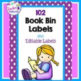Purple Polka Dot Book Bin Labels for Classroom Library EDITABLE