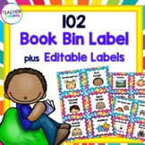 Book Bin Labels | Classroom Library Labels | Rainbow Burst