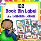 Rainbow Burst Book Bin Labels for Classroom Library EDITABLE