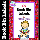 Red Confetti Book Bin Labels for Classroom Library EDITABLE