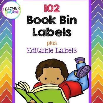 Book Bin Labels (Rainbow Chevron)