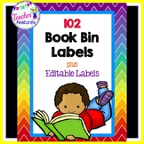 Rainbow Chevron Book Bin Labels for Classroom Library EDITABLE