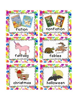 Paint Splatter Book Bin Labels
