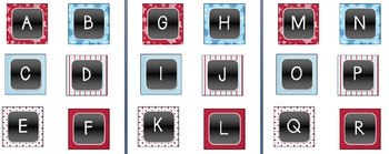 Book Bin Labels Alphabetical - Red, White, & Blue Theme