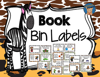 Book Bin Labels-Animal Print