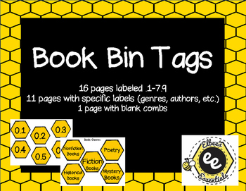 Book Bin Labels - Bee Themed