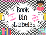 Book Bin Labels - Black & White Chevron