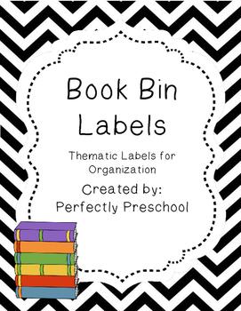 Book Bin Labels {Black and White Chevron}