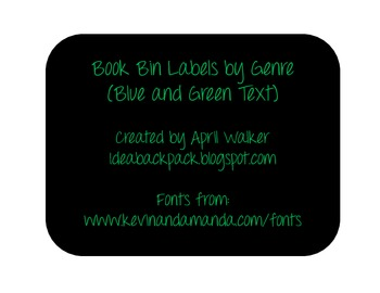 Book Bin Labels - Black and green