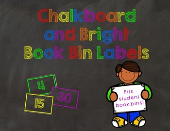 Book Bin Labels - Chalkboard Black and Bright Themed