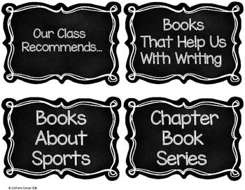 Book Bin Labels Chalkboard Theme