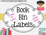 Book Bin Labels - Gray & White Chevron
