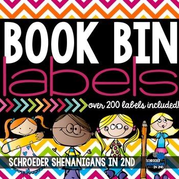 Book Bin Labels Chevron!