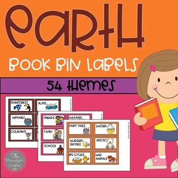 Book Bin Labels EARTH COLORS