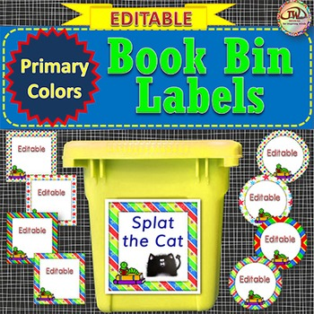 EDITABLE Book Bin Labels for the Classroom Library PRIMARY COLORS