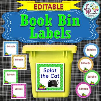Book Bin Labels EDITABLE Polka-dot
