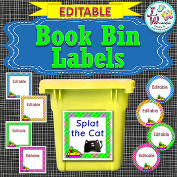 EDITABLE Book Bin Labels for the Classroom Library POLKA DOTS