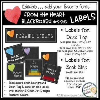 Book Bin Labels, Editable Name Tags, Target Adhesive Labels Heart
