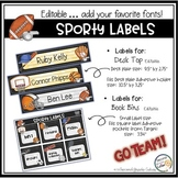 Book Bin Labels, Editable Name Tags, Target Adhesive Labels  Sporty