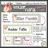 Book Bin Labels, Editable Name Tags, Target Adhesive Labels Ship lap Floral