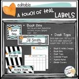 Book Bin Labels, Editable Name Tags, Target Adhesive Labels Teal