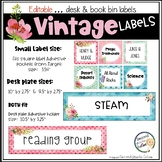 Book Bin Labels, Editable Name Tags, Target Adhesive Labels Watercolor Floral