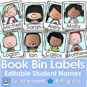 Book Bin Labels-Editable Student Names