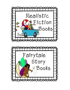 19 Book Bin Labels Fiction by Genre
