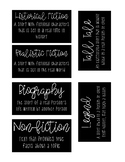 Book Bin Labels - Genre with Description