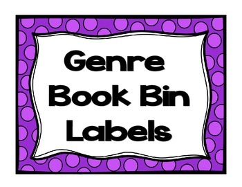 Book Bin Labels- Genres