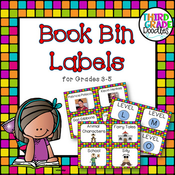 Classroom Library Labels -- Grades 3-5 Colorful Chicklets