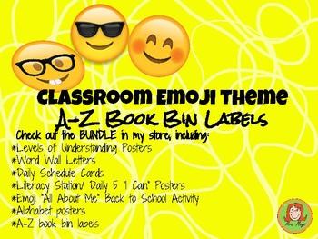 """Book Bin Labels Levels A-Z  """"Emoji Themed"""""""