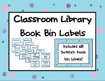 Book Bin Labels - Light Blue Polka Dot