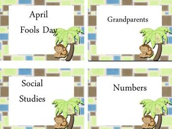 Book Bin Labels ~ Monkey Theme~EDITABLE