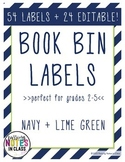 Book Bin Labels - Navy & Lime Green (EDITABLE)