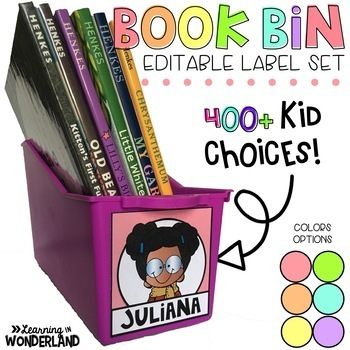 Book Bin Labels - Pastel Editable Name Tags {400+ Choices}