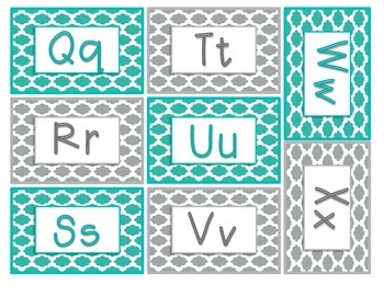 Book Bin Labels {Quatrefoil Teal & Gray}