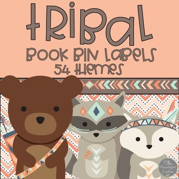 Book Bin Labels Tribal Peach Set
