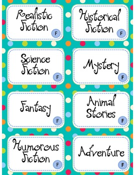 Book Bin Labels - Leveled & Genres - Turquoise Dots