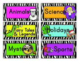Book Bin Labels - Zebra Print
