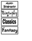 Book Bin Labels by Genre