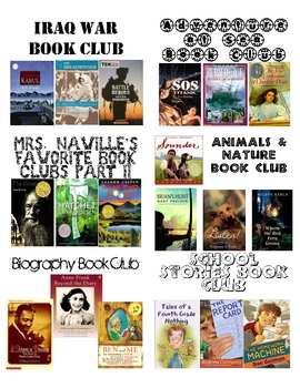Book Bin Labels for 5th Grade Book Clubs