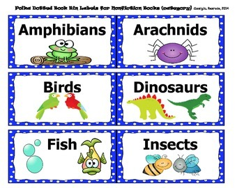 Book Bin Labels for Classroom Library (polka dotted)