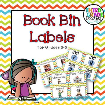 Classroom Library Labels for Grades 3-5 Chevron
