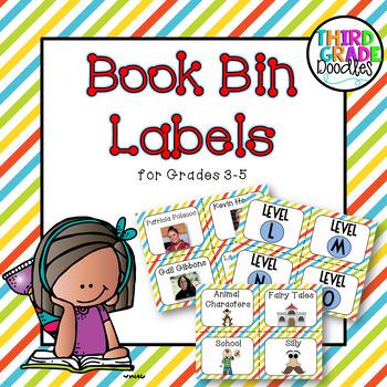 Classroom Library Labels for Grades 3-5 -- Diagonal Stripes