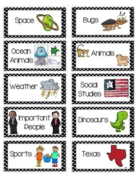Book Bin Labels for Library--ON STICKERS!!! {PRIMARY SET}
