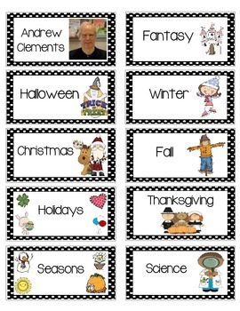 Book Bin Labels for Library --ON STICKERS!! {Intermediate set}