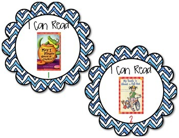 Book Bin Labels for Primary Grades (with pictures!)- Ocean Cheveron Badges