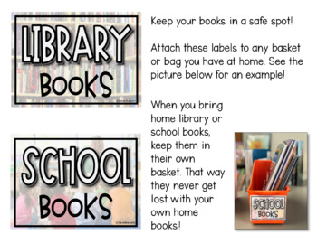Book Bin Labels to Send Home for Library and School Books
