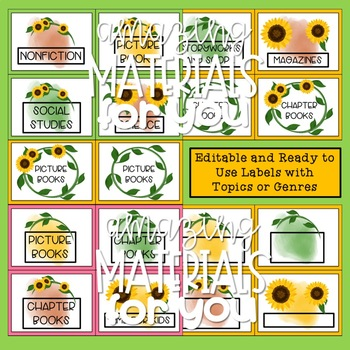 Book Bin Labels with a Sunflower Theme